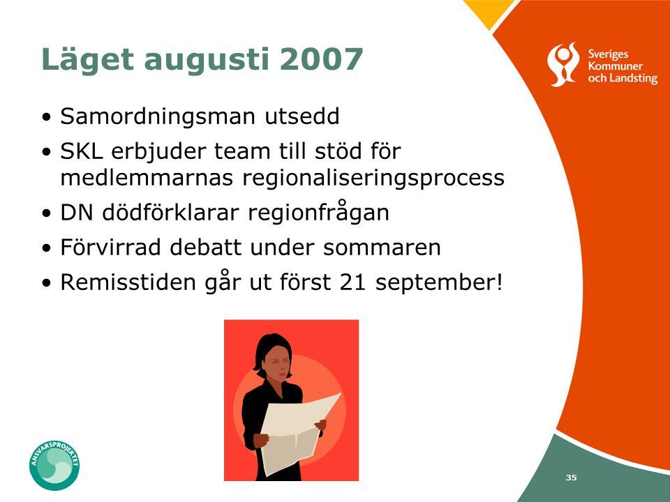 35 Läget augusti 2007 Samordningsman utsedd SKL erbjuder team till stöd för medlemmarnas regionaliseringsprocess DN dödförklarar regionfrågan Förvirra