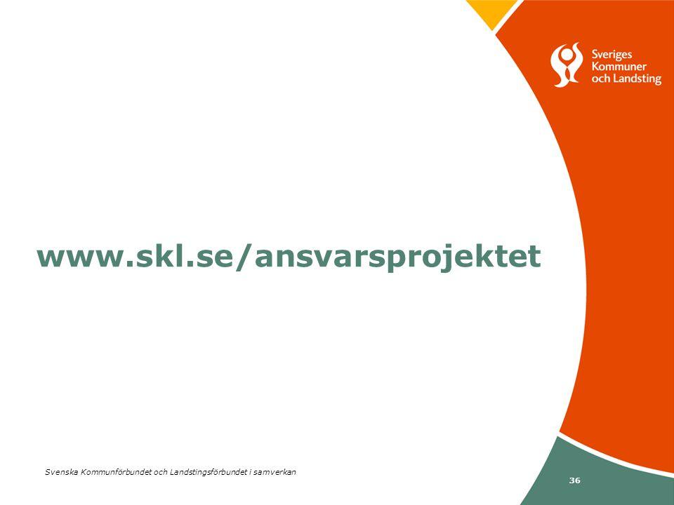 36 Svenska Kommunförbundet och Landstingsförbundet i samverkan www.skl.se/ansvarsprojektet