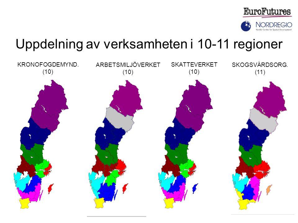 SKATTEVERKET (10) KRONOFOGDEMYND. (10) Uppdelning av verksamheten i 10-11 regioner ARBETSMILJÖVERKET (10) SKOGSVÅRDSORG. (11)