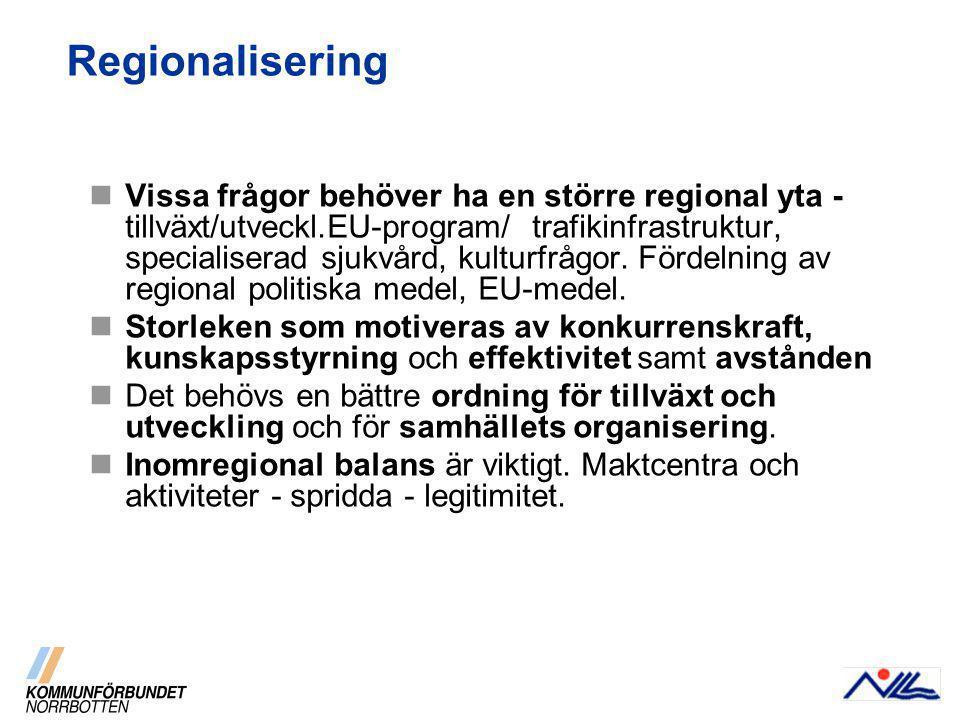 Regionalisering Vissa frågor behöver ha en större regional yta - tillväxt/utveckl.EU-program/ trafikinfrastruktur, specialiserad sjukvård, kulturfrågor.