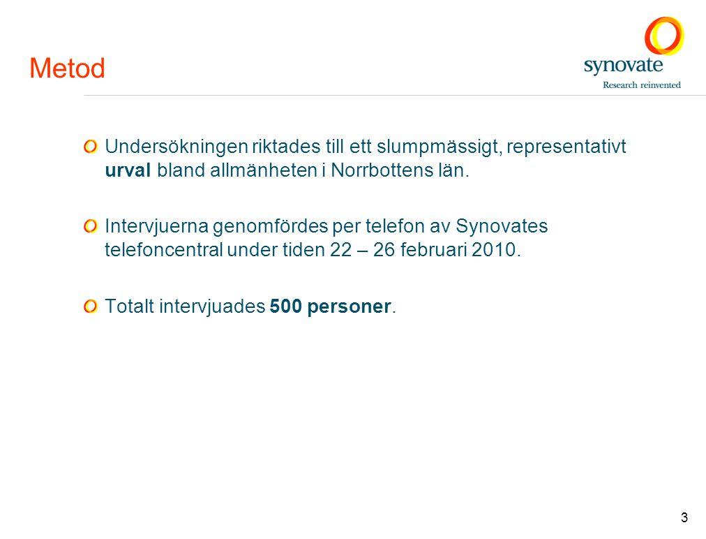 3 Metod Undersökningen riktades till ett slumpmässigt, representativt urval bland allmänheten i Norrbottens län. Intervjuerna genomfördes per telefon
