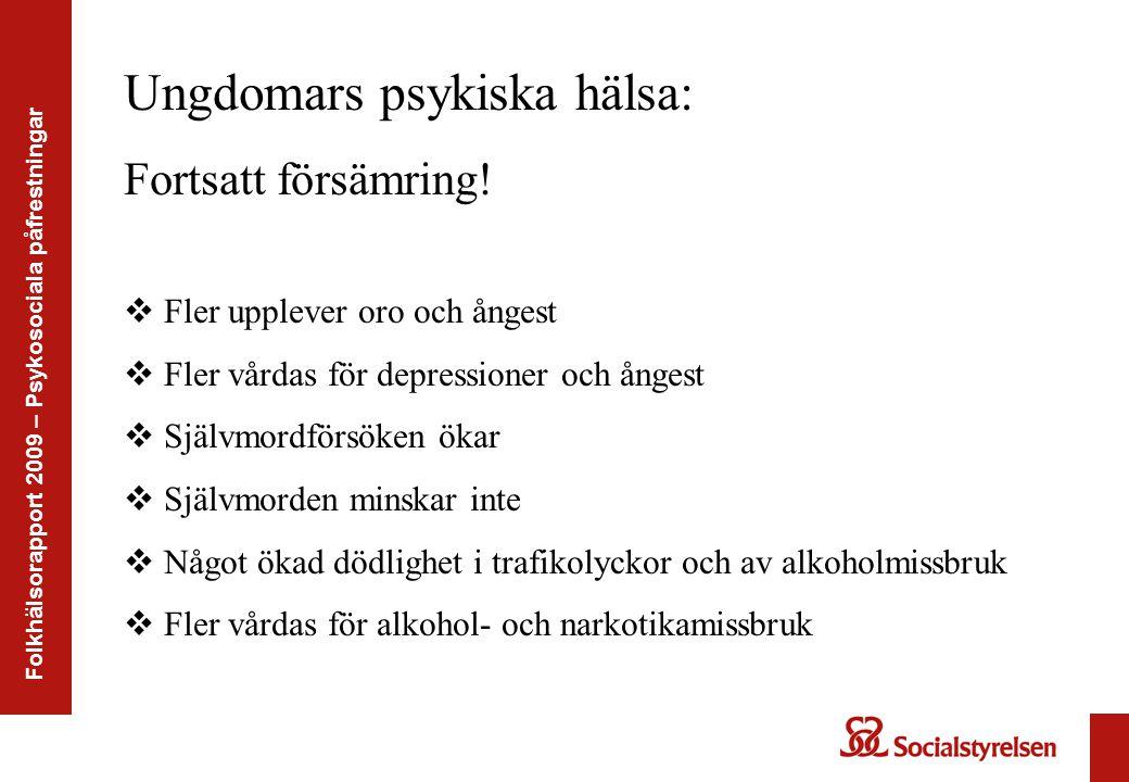 Folkhälsorapport 2009 – Psykosociala påfrestningar Ungdomars psykiska hälsa: Fortsatt försämring!  Fler upplever oro och ångest  Fler vårdas för dep