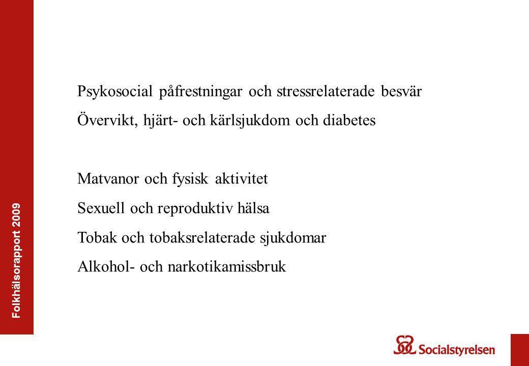 Folkhälsorapport 2009 Psykosocial påfrestningar och stressrelaterade besvär Övervikt, hjärt- och kärlsjukdom och diabetes Matvanor och fysisk aktivite