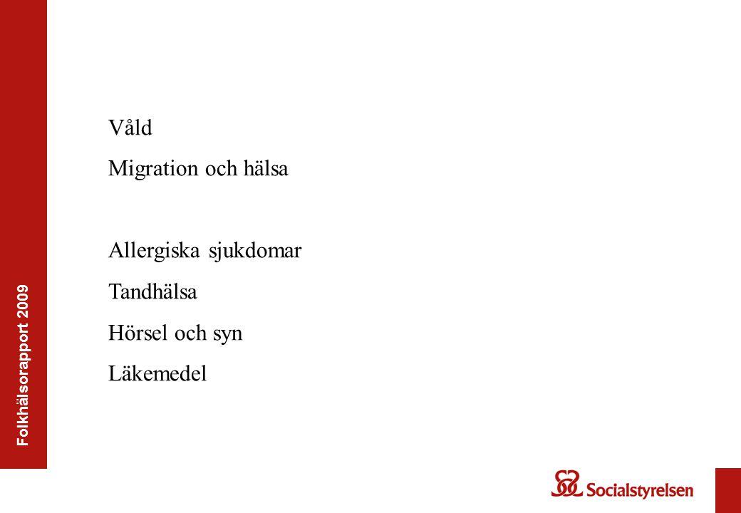 Folkhälsorapport 2009 Våld Migration och hälsa Allergiska sjukdomar Tandhälsa Hörsel och syn Läkemedel