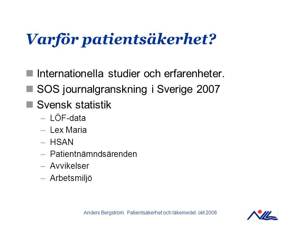 Anders Bergström.Patientsäkerhet och läkemedel. okt 2008 Varför patientsäkerhet.