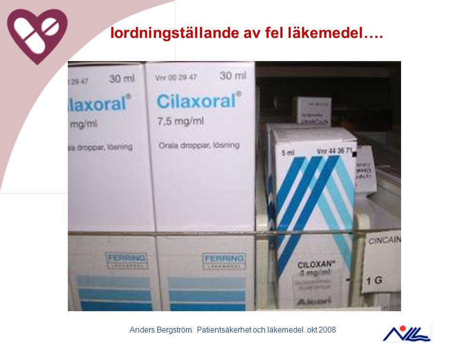 Anders Bergström. Patientsäkerhet och läkemedel. okt 2008 Iordningställande av fel läkemedel….