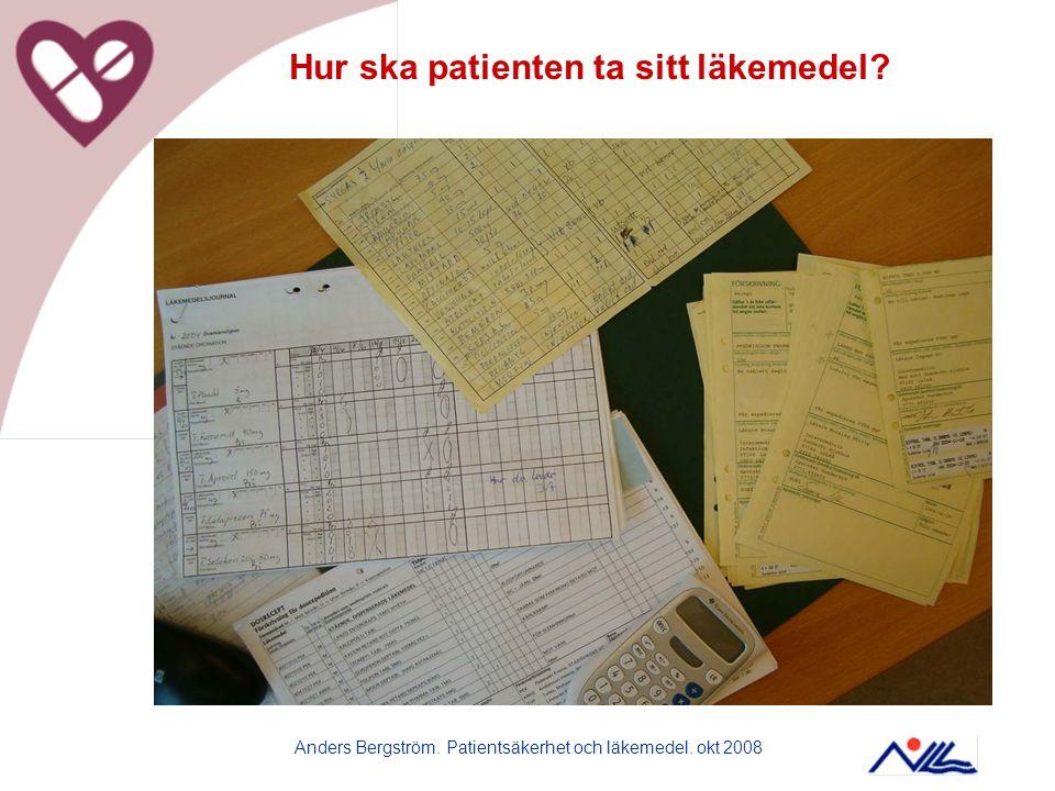 Anders Bergström. Patientsäkerhet och läkemedel. okt 2008 Hur ska patienten ta sitt läkemedel?