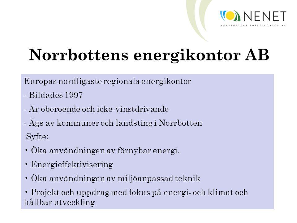 Norrbottens energikontor AB Europas nordligaste regionala energikontor - Bildades 1997 - Är oberoende och icke-vinstdrivande - Ägs av kommuner och landsting i Norrbotten Syfte: Öka användningen av förnybar energi.