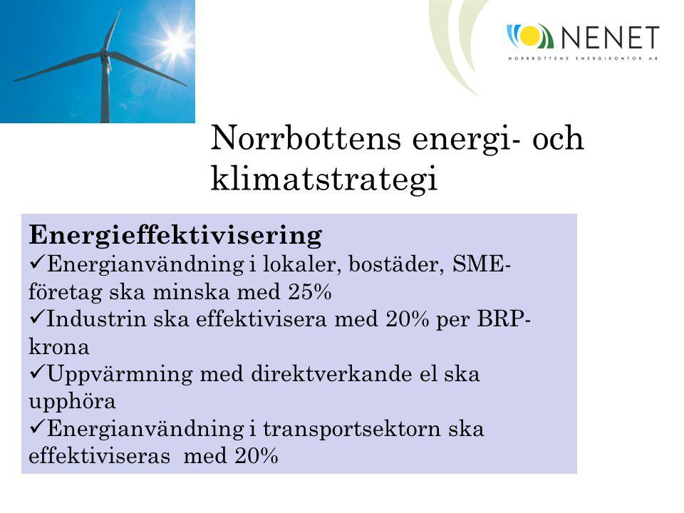 Norrbottens energi- och klimatstrategi Förnybar energi Andel förnybar energi öka med 20% genom att: Användning av eldningsolja inom industrin ska upphöra Uppvärmning med fossil olja ska upphöra Andel förnybar energi i transportsektorn ska uppgå till 10%