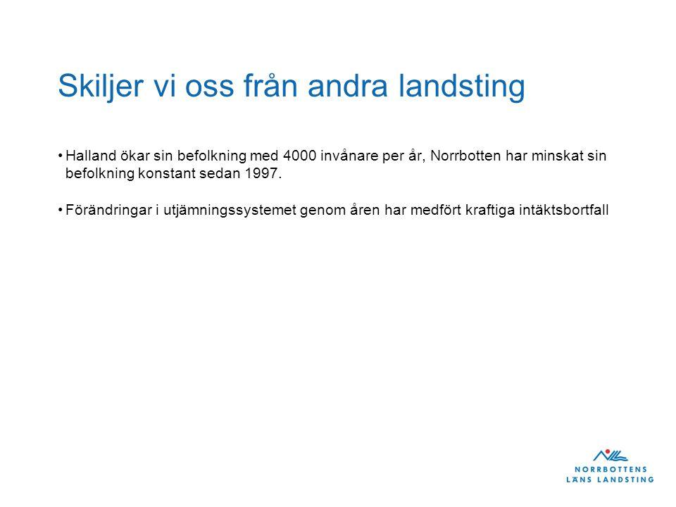 Skiljer vi oss från andra landsting Halland ökar sin befolkning med 4000 invånare per år, Norrbotten har minskat sin befolkning konstant sedan 1997. F