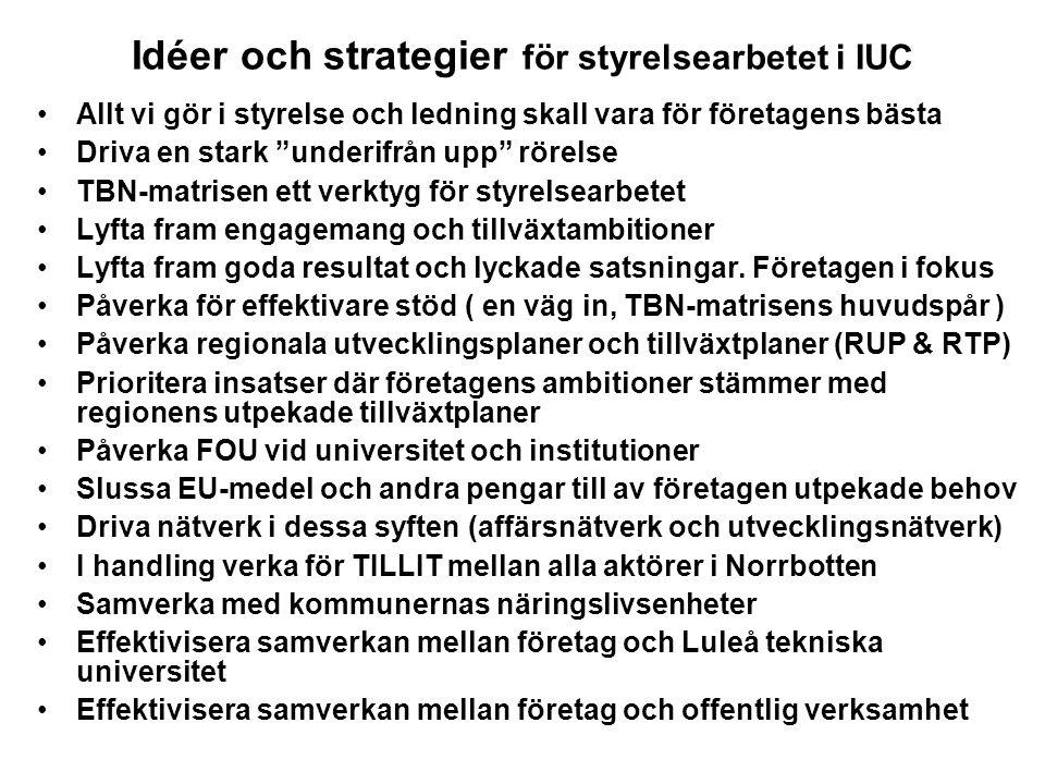 """Idéer och strategier för styrelsearbetet i IUC Allt vi gör i styrelse och ledning skall vara för företagens bästa Driva en stark """"underifrån upp"""" röre"""