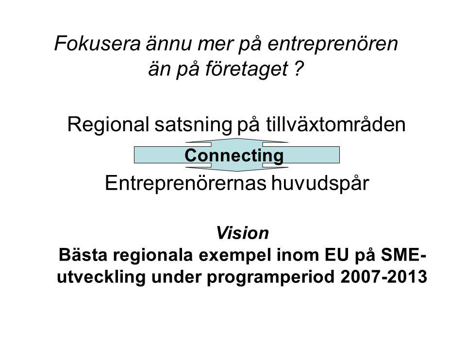 Fokusera ännu mer på entreprenören än på företaget ? Regional satsning på tillväxtområden Entreprenörernas huvudspår Connecting Vision Bästa regionala