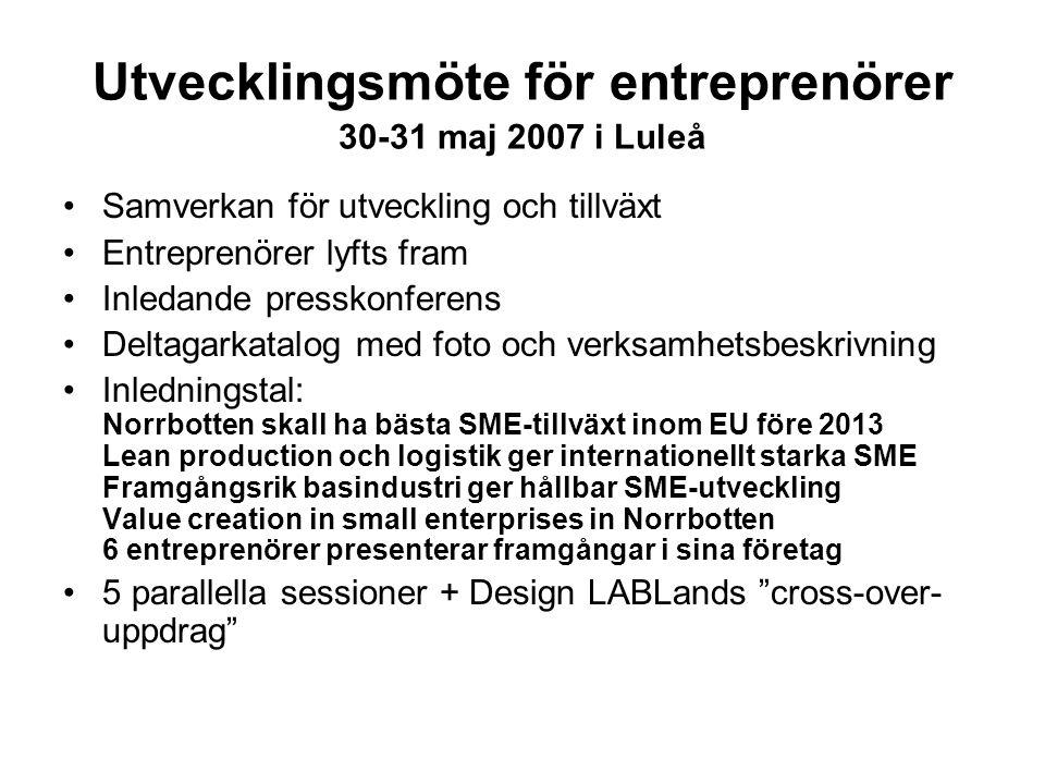 Utvecklingsmöte för entreprenörer 30-31 maj 2007 i Luleå Samverkan för utveckling och tillväxt Entreprenörer lyfts fram Inledande presskonferens Delta