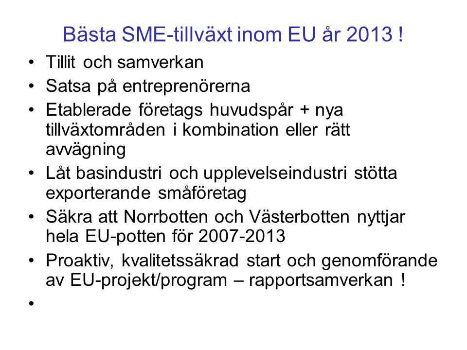 Bästa SME-tillväxt inom EU år 2013 ! Tillit och samverkan Satsa på entreprenörerna Etablerade företags huvudspår + nya tillväxtområden i kombination e