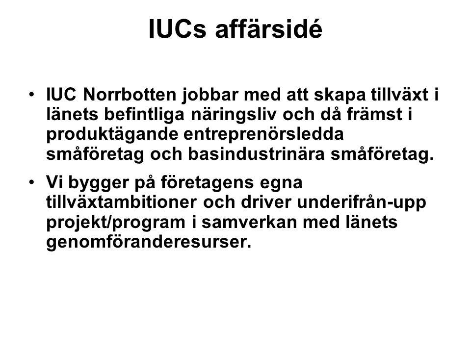 IUCs affärsidé IUC Norrbotten jobbar med att skapa tillväxt i länets befintliga näringsliv och då främst i produktägande entreprenörsledda småföretag