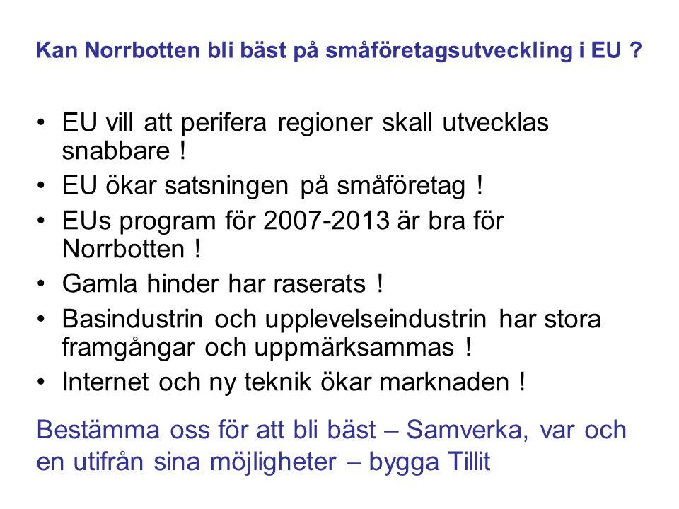 Kan Norrbotten bli bäst på småföretagsutveckling i EU ? EU vill att perifera regioner skall utvecklas snabbare ! EU ökar satsningen på småföretag ! EU