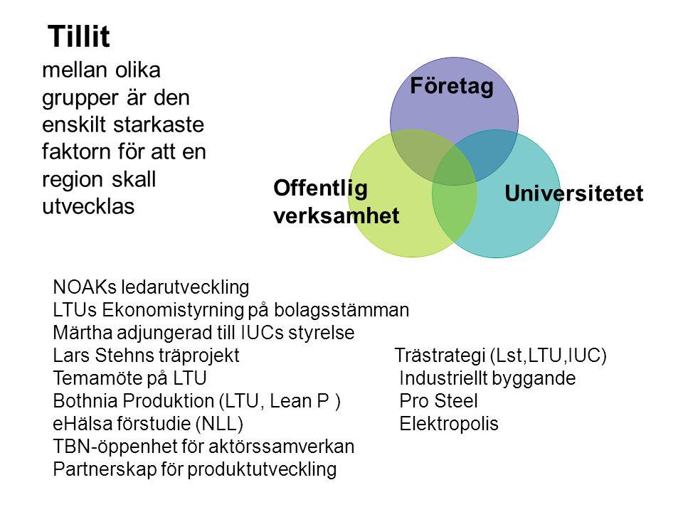 Företag Offentlig verksamhet Universitetet Tillit NOAKs ledarutveckling LTUs Ekonomistyrning på bolagsstämman Märtha adjungerad till IUCs styrelse Lar