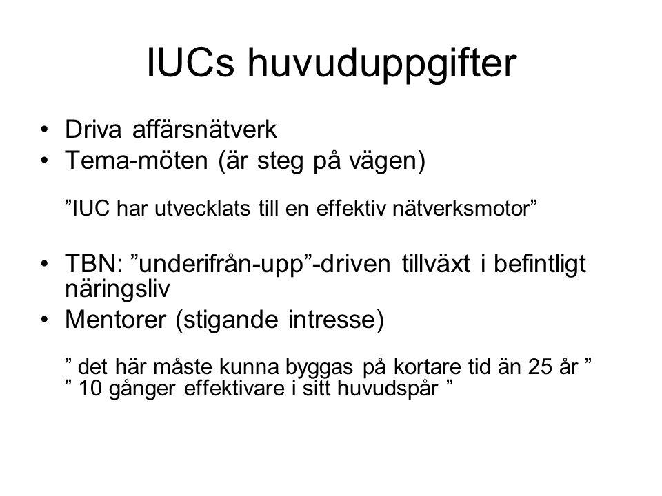 """IUCs huvuduppgifter Driva affärsnätverk Tema-möten (är steg på vägen) """"IUC har utvecklats till en effektiv nätverksmotor"""" TBN: """"underifrån-upp""""-driven"""