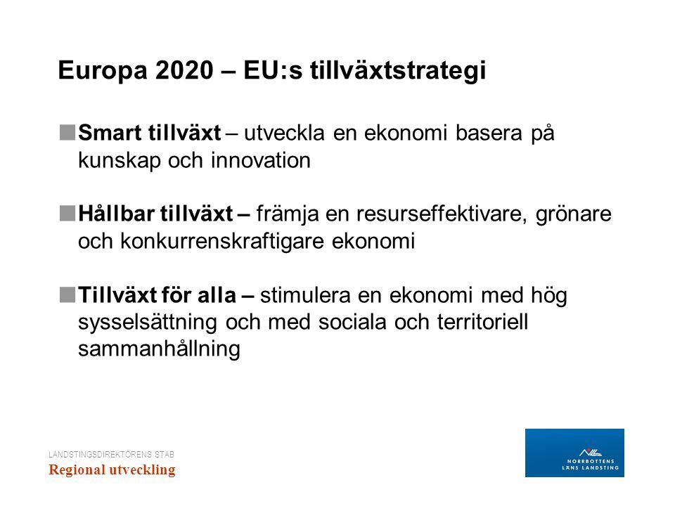 LANDSTINGSDIREKTÖRENS STAB Regional utveckling Europa 2020 – EU:s tillväxtstrategi ■ Smart tillväxt – utveckla en ekonomi basera på kunskap och innova