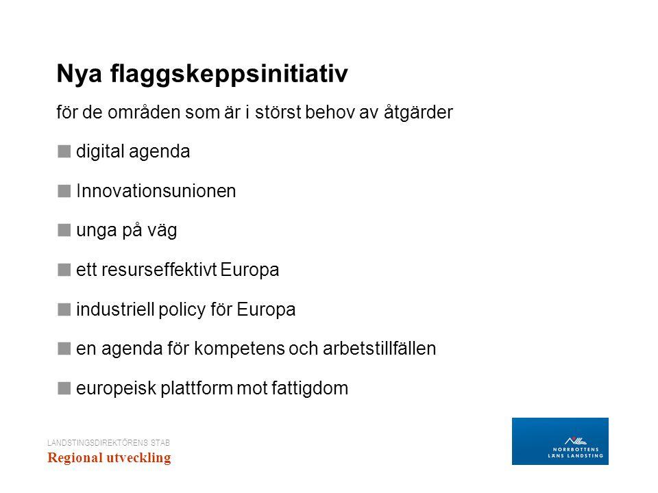 LANDSTINGSDIREKTÖRENS STAB Regional utveckling Nya flaggskeppsinitiativ för de områden som är i störst behov av åtgärder ■ digital agenda ■ Innovation