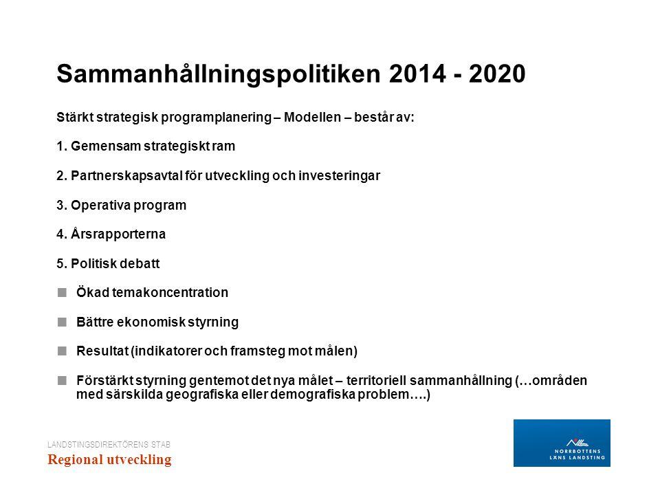 LANDSTINGSDIREKTÖRENS STAB Regional utveckling Sammanhållningspolitiken 2014 - 2020 Stärkt strategisk programplanering – Modellen – består av: 1. Geme