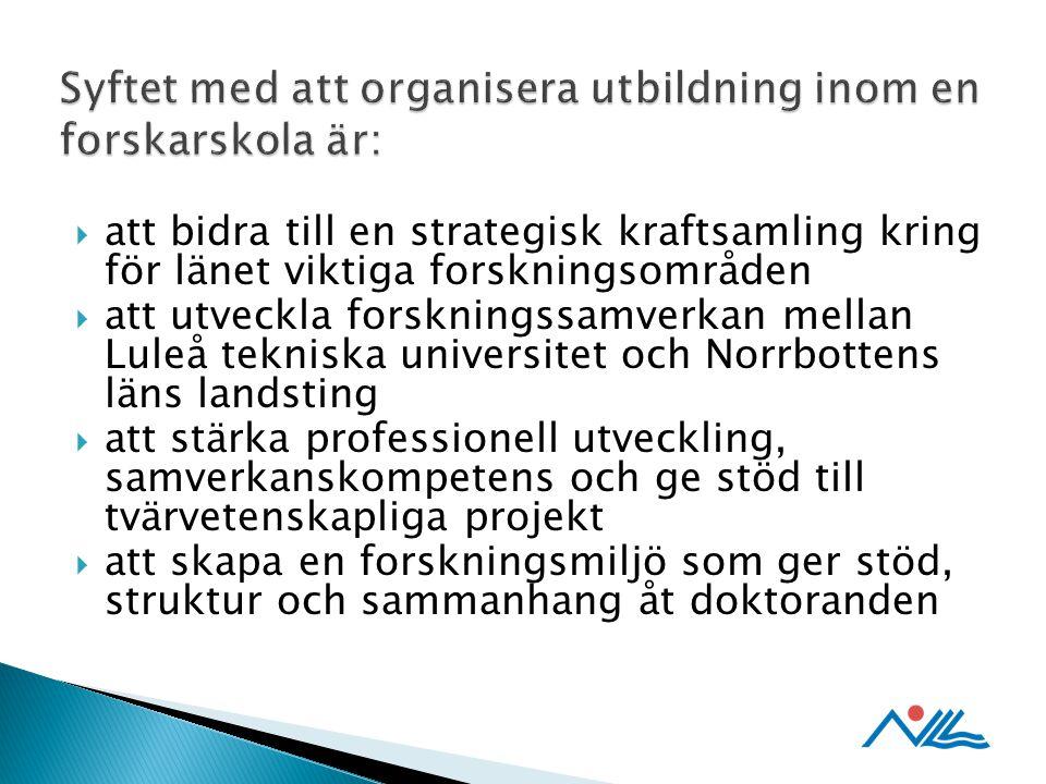  att bidra till en strategisk kraftsamling kring för länet viktiga forskningsområden  att utveckla forskningssamverkan mellan Luleå tekniska universitet och Norrbottens läns landsting  att stärka professionell utveckling, samverkanskompetens och ge stöd till tvärvetenskapliga projekt  att skapa en forskningsmiljö som ger stöd, struktur och sammanhang åt doktoranden