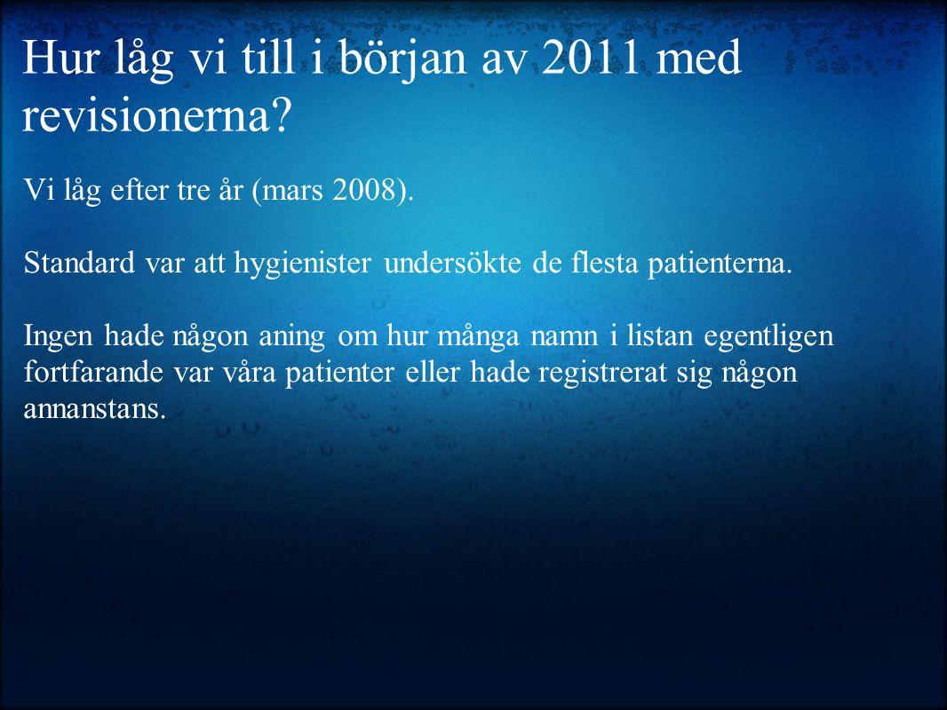 Vi låg efter tre år (mars 2008). Standard var att hygienister undersökte de flesta patienterna. Ingen hade någon aning om hur många namn i listan egen
