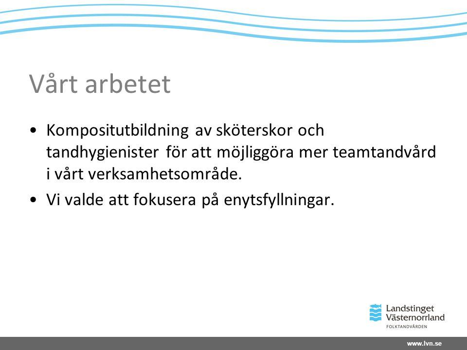 www.lvn.se Vårt arbetet Kompositutbildning av sköterskor och tandhygienister för att möjliggöra mer teamtandvård i vårt verksamhetsområde.