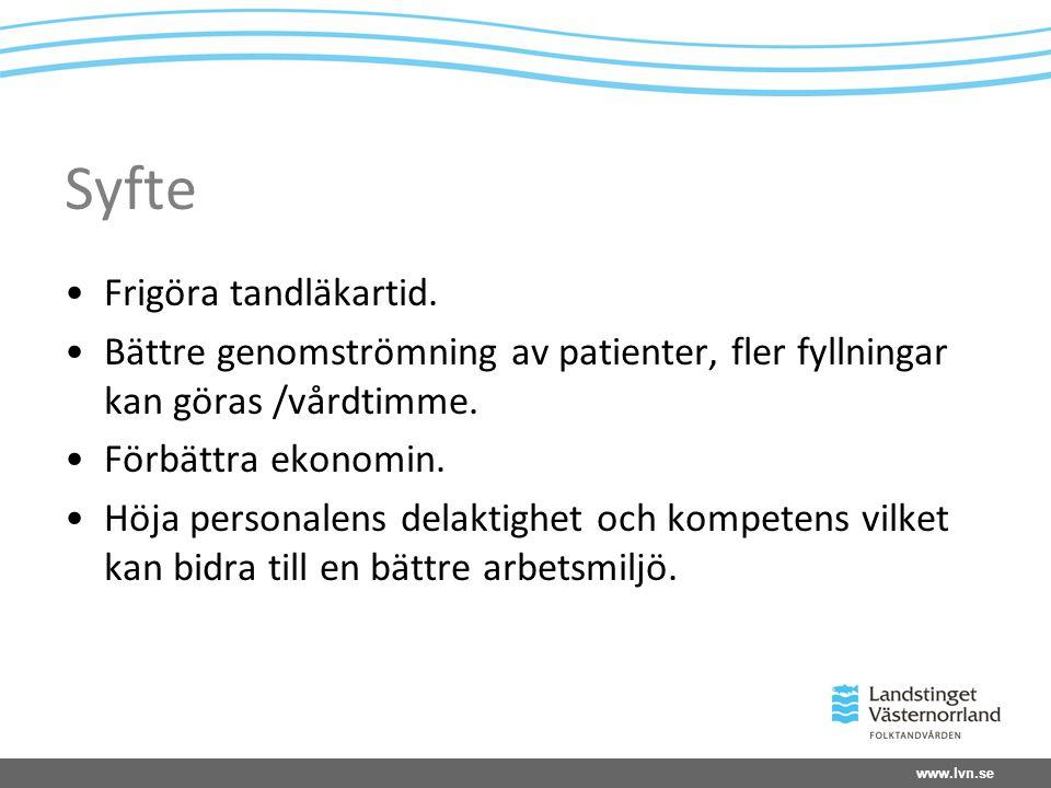 www.lvn.se Syfte Frigöra tandläkartid.