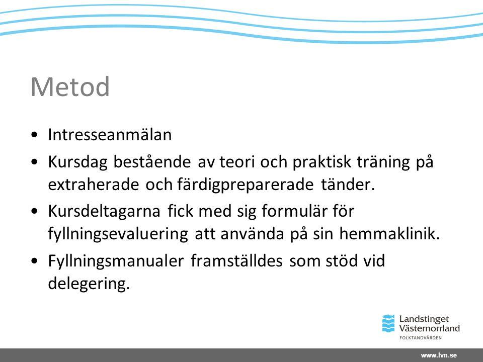www.lvn.se Metod Intresseanmälan Kursdag bestående av teori och praktisk träning på extraherade och färdigpreparerade tänder.