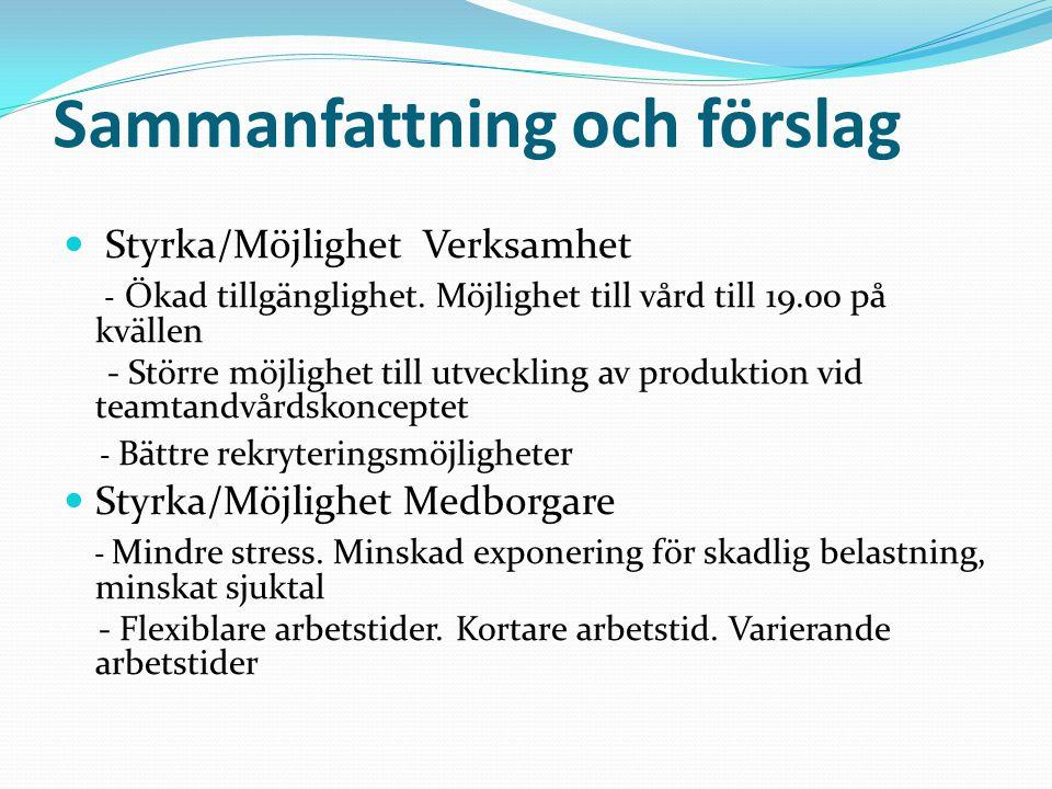 Sammanfattning och förslag Styrka/Möjlighet Verksamhet - Ökad tillgänglighet.