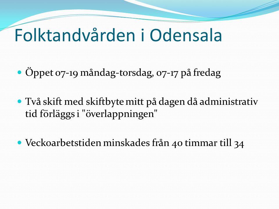 Folktandvården i Odensala Öppet 07-19 måndag-torsdag, 07-17 på fredag Två skift med skiftbyte mitt på dagen då administrativ tid förläggs i överlappningen Veckoarbetstiden minskades från 40 timmar till 34
