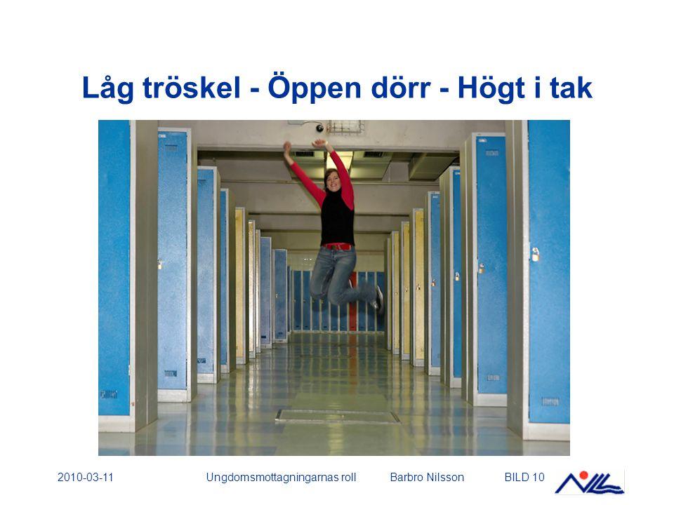 2010-03-11Ungdomsmottagningarnas roll Barbro NilssonBILD 10 Låg tröskel - Öppen dörr - Högt i tak