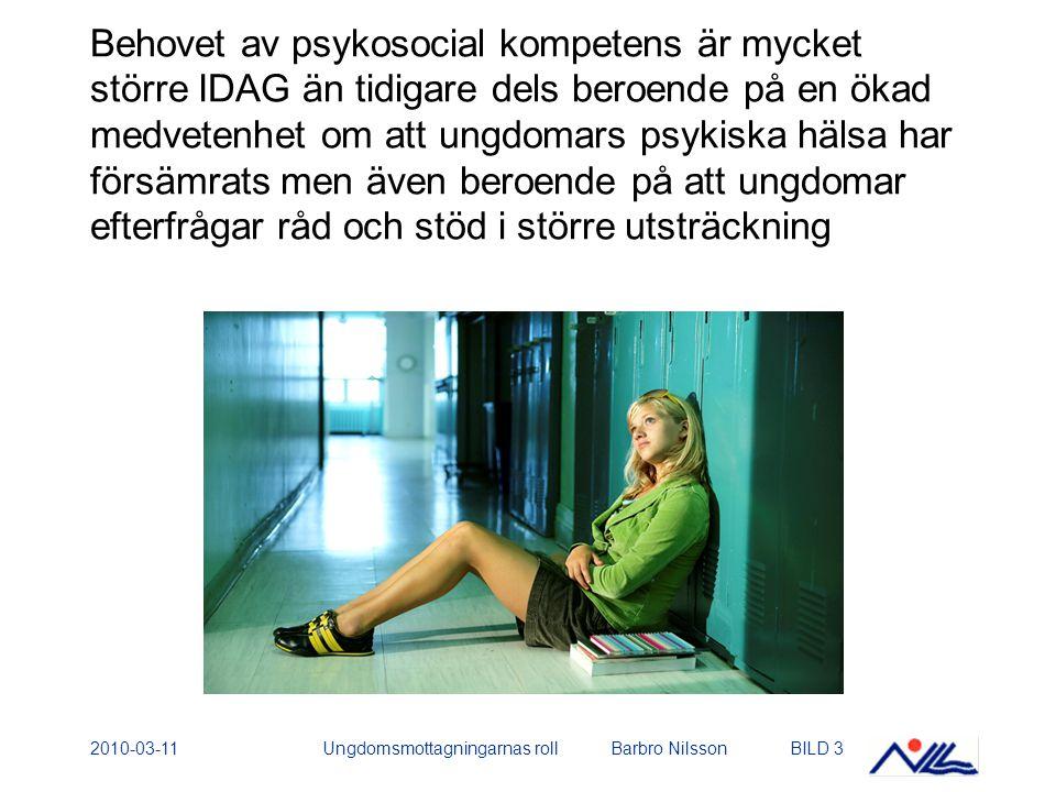2010-03-11Ungdomsmottagningarnas roll Barbro NilssonBILD 3 Behovet av psykosocial kompetens är mycket större IDAG än tidigare dels beroende på en ökad medvetenhet om att ungdomars psykiska hälsa har försämrats men även beroende på att ungdomar efterfrågar råd och stöd i större utsträckning