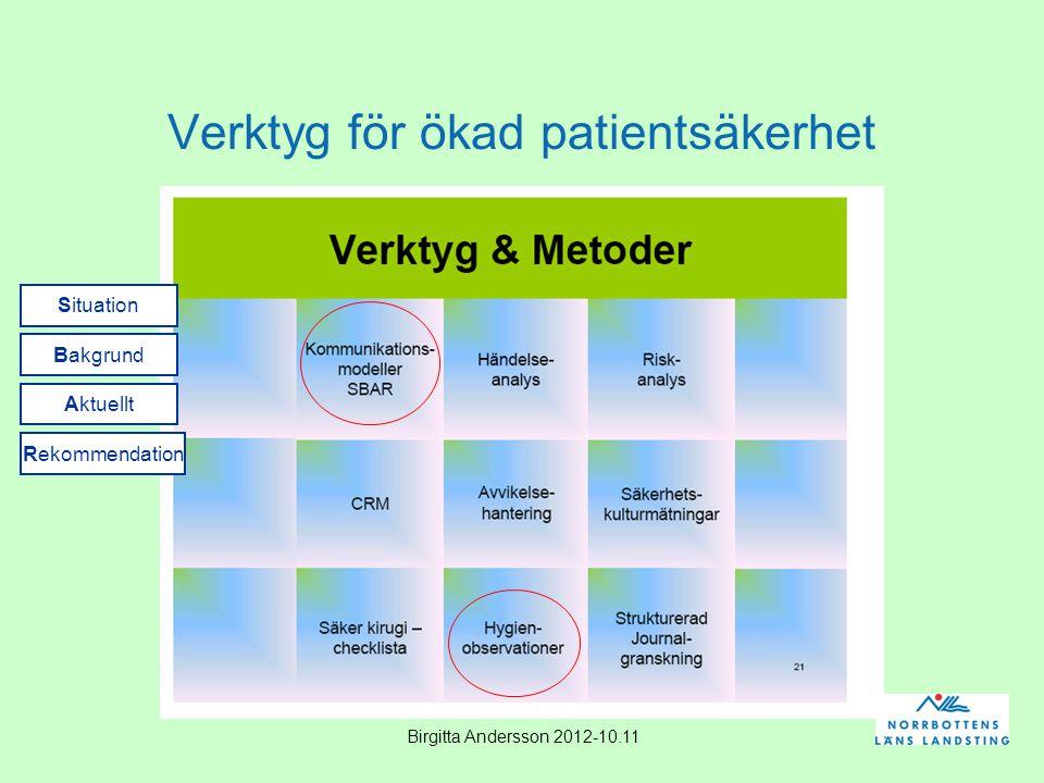 Birgitta Andersson 2012-10.11 Verktyg för ökad patientsäkerhet Situation Bakgrund Aktuellt Rekommendation