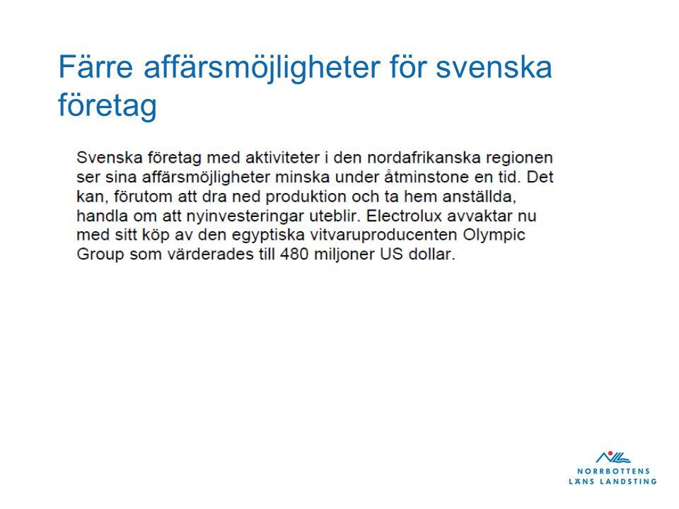 Färre affärsmöjligheter för svenska företag