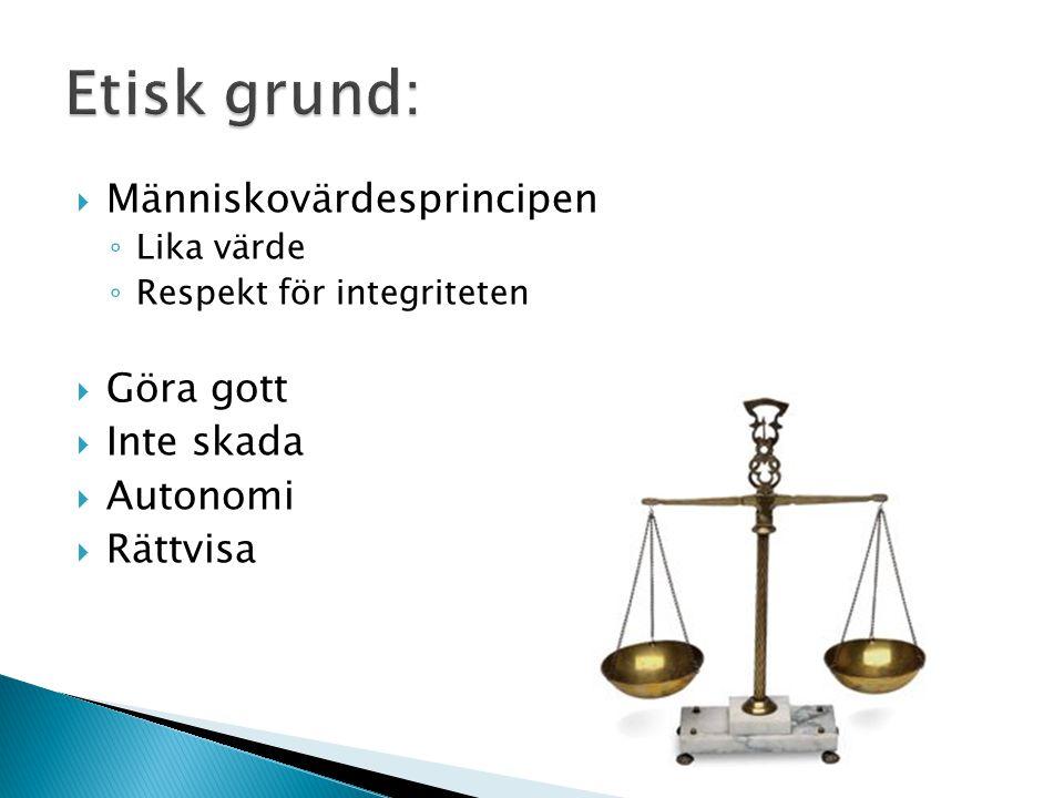  Människovärdesprincipen ◦ Lika värde ◦ Respekt för integriteten  Göra gott  Inte skada  Autonomi  Rättvisa