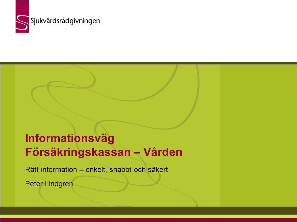 Informationsväg Försäkringskassan – Vården Rätt information – enkelt, snabbt och säkert Peter Lindgren