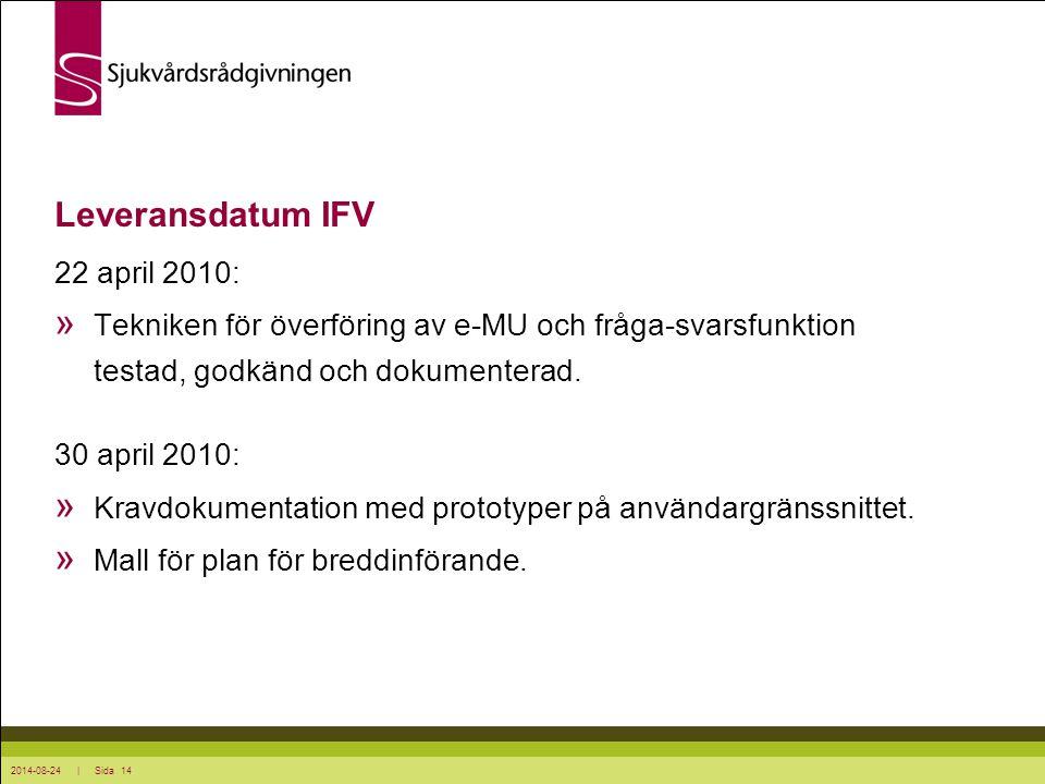 2014-08-24 | Sida 14 Leveransdatum IFV 22 april 2010: » Tekniken för överföring av e-MU och fråga-svarsfunktion testad, godkänd och dokumenterad. 30 a