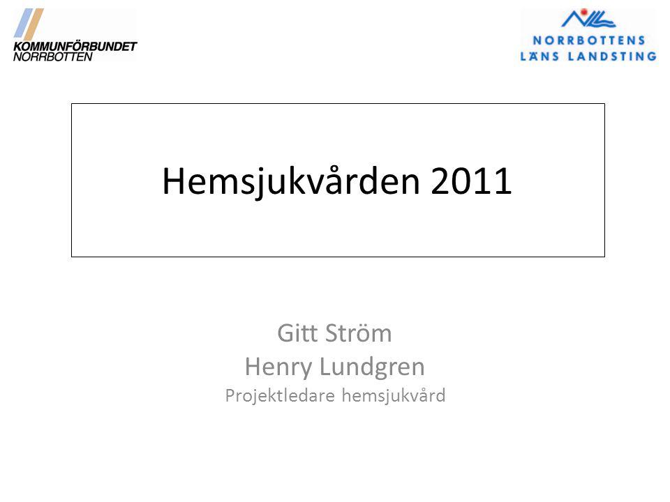 Hemsjukvården 2011 Gitt Ström Henry Lundgren Projektledare hemsjukvård