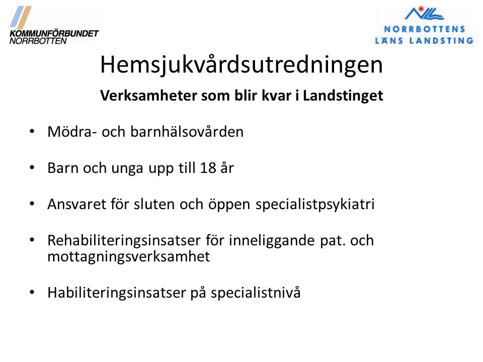 Hemsjukvårdsutredningen Verksamheter som blir kvar i Landstinget Mödra- och barnhälsovården Barn och unga upp till 18 år Ansvaret för sluten och öppen