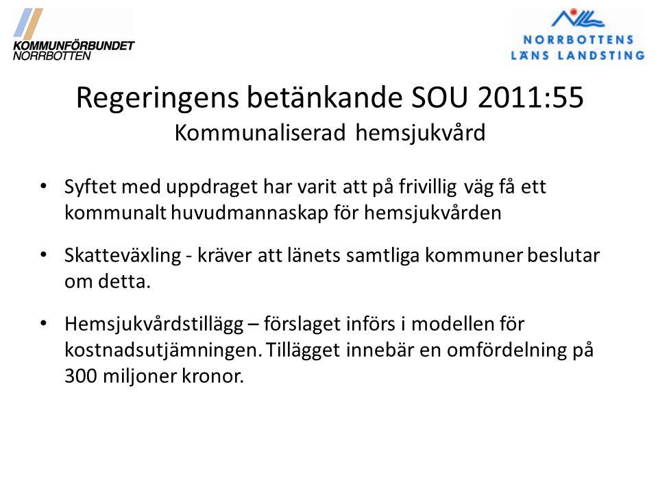 Regeringens betänkande SOU 2011:55 Kommunaliserad hemsjukvård Syftet med uppdraget har varit att på frivillig väg få ett kommunalt huvudmannaskap för