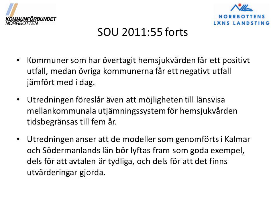 SOU 2011:55 forts Kommuner som har övertagit hemsjukvården får ett positivt utfall, medan övriga kommunerna får ett negativt utfall jämfört med i dag.