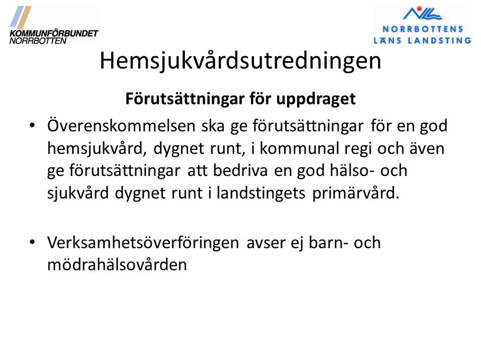 Hemsjukvårdsutredningen Förutsättningar forts.