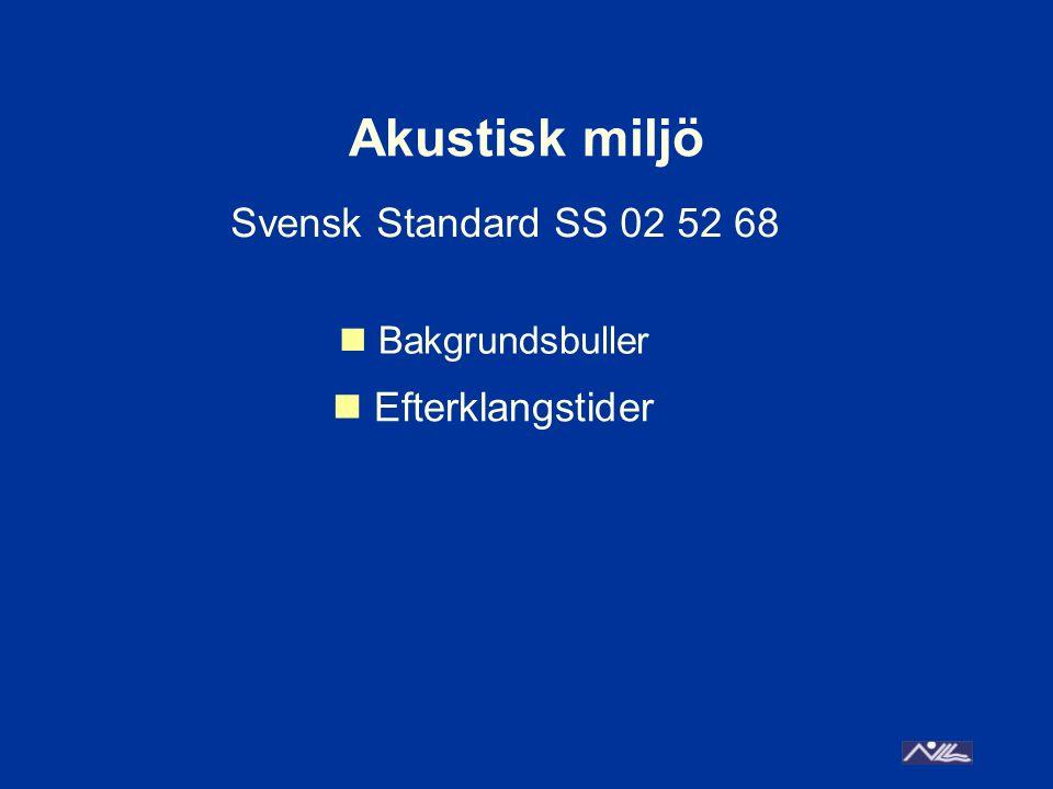 Akustisk miljö Bakgrundsbuller Efterklangstider Svensk Standard SS 02 52 68