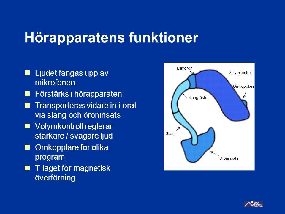 Hörapparatens funktioner Ljudet fångas upp av mikrofonen Förstärks i hörapparaten Transporteras vidare in i örat via slang och öroninsats Volymkontroll reglerar starkare / svagare ljud Omkopplare för olika program T-läget för magnetisk överförning Mikrofon Slangfäste Öroninsats Volymkontroll Omkopplare Slang