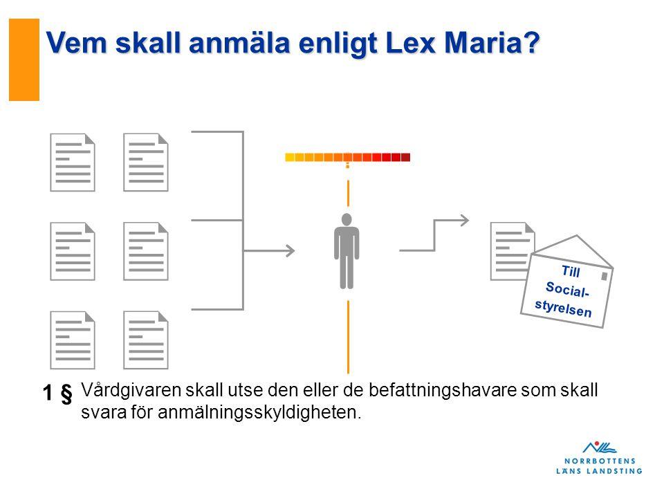         .Till Social- styrelsen Vem skall anmäla enligt Lex Maria.