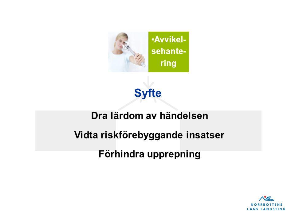 Avvikel- sehante- ring Syfte Dra lärdom av händelsen Vidta riskförebyggande insatser Förhindra upprepning