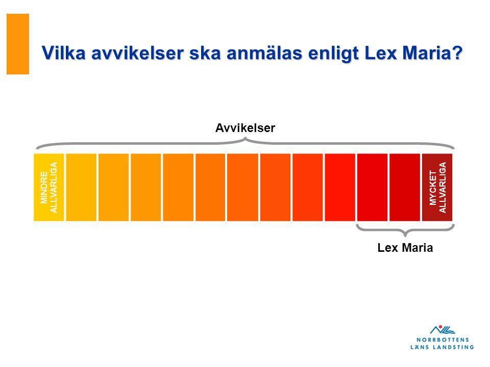 Vilka avvikelser ska anmälas enligt Lex Maria? MINDRE ALLVARLIGA MYCKET ALLVARLIGA Avvikelser Lex Maria