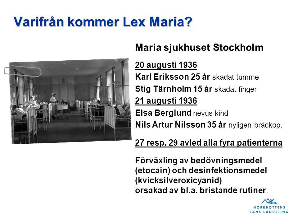 Varifrån kommer Lex Maria? Maria sjukhuset Stockholm 20 augusti 1936 Karl Eriksson 25 år skadat tumme Stig Tärnholm 15 år skadat finger 21 augusti 193